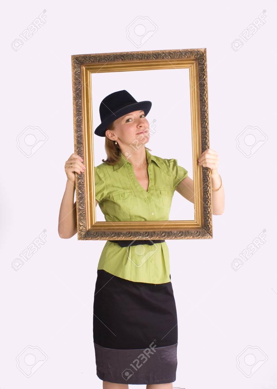 businesswoman in art frame smiling Stock Photo - 10019213