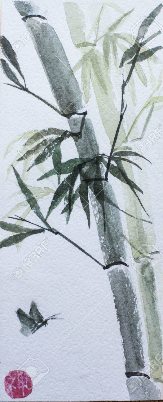 asian bamboo watercolor and butterfly Stock Photo - 19535984