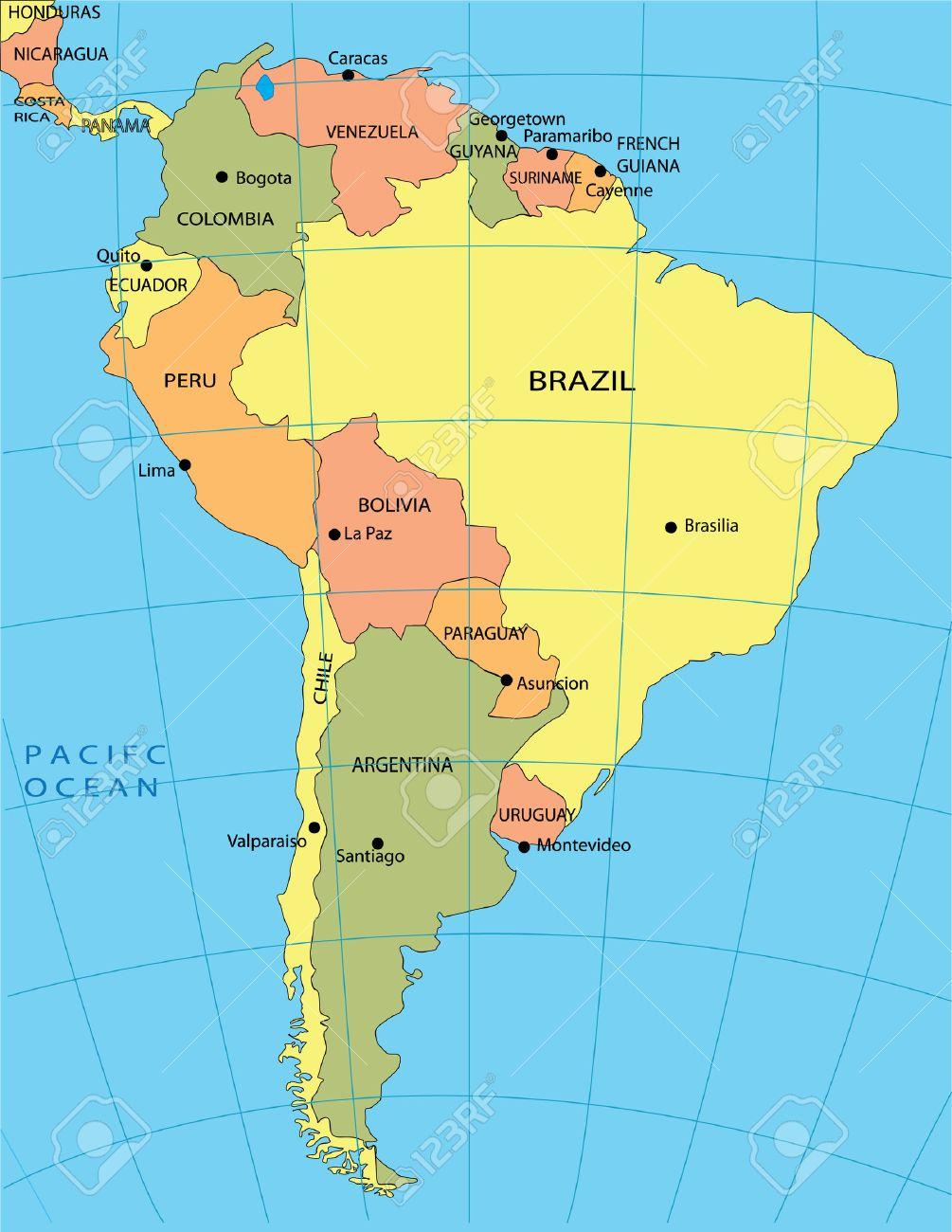 Mapa Politico De America Del Sur Foto De Archivo 3928615