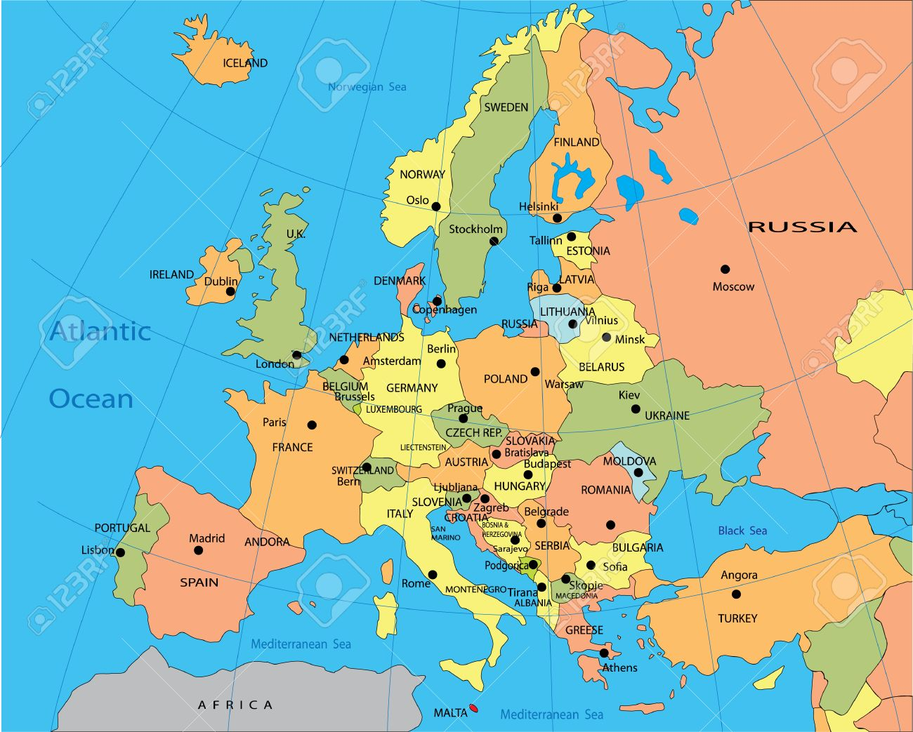 Political Map Of Europe Royalty Free Cliparts Vectors And Stock