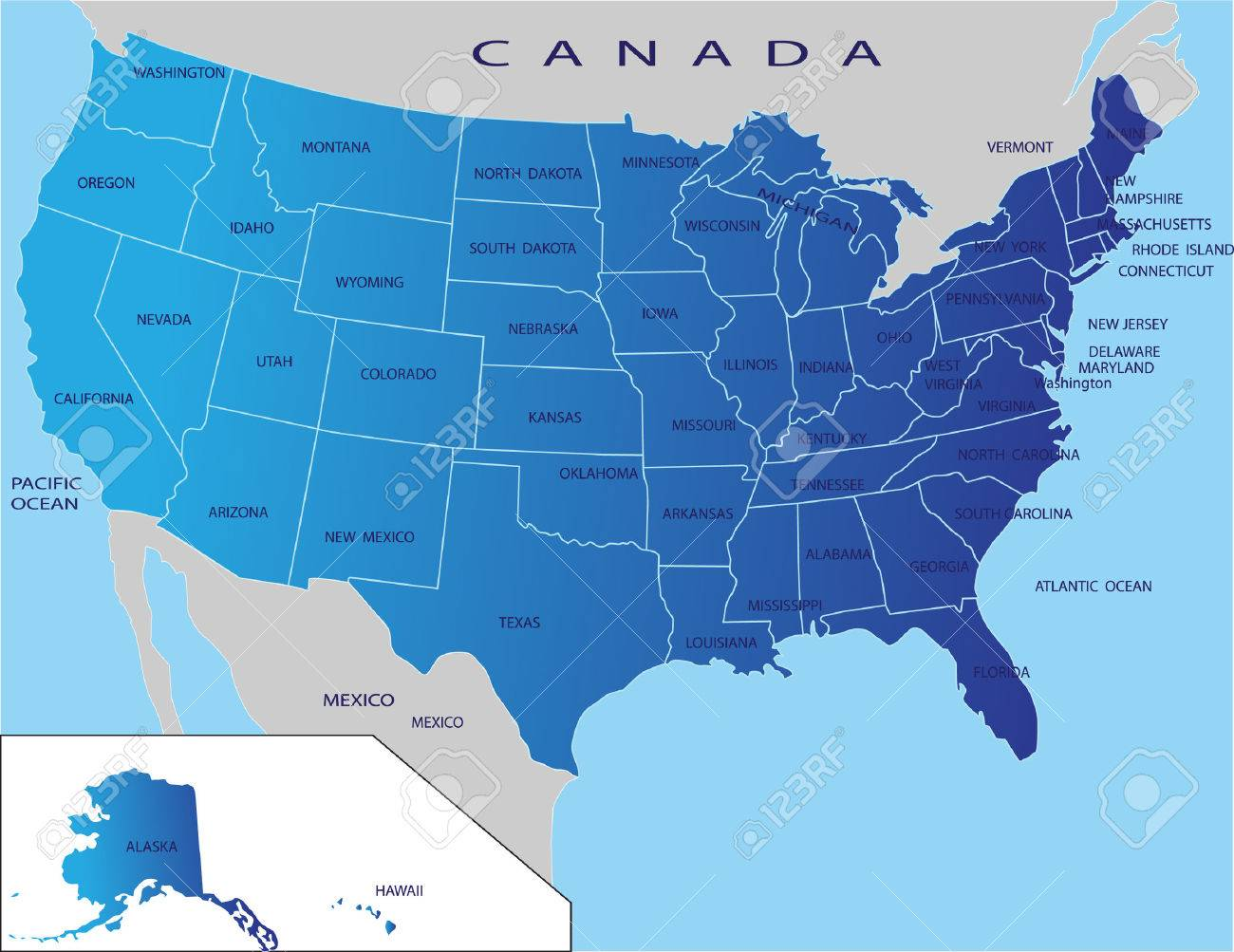 Political map of USA - 3928624
