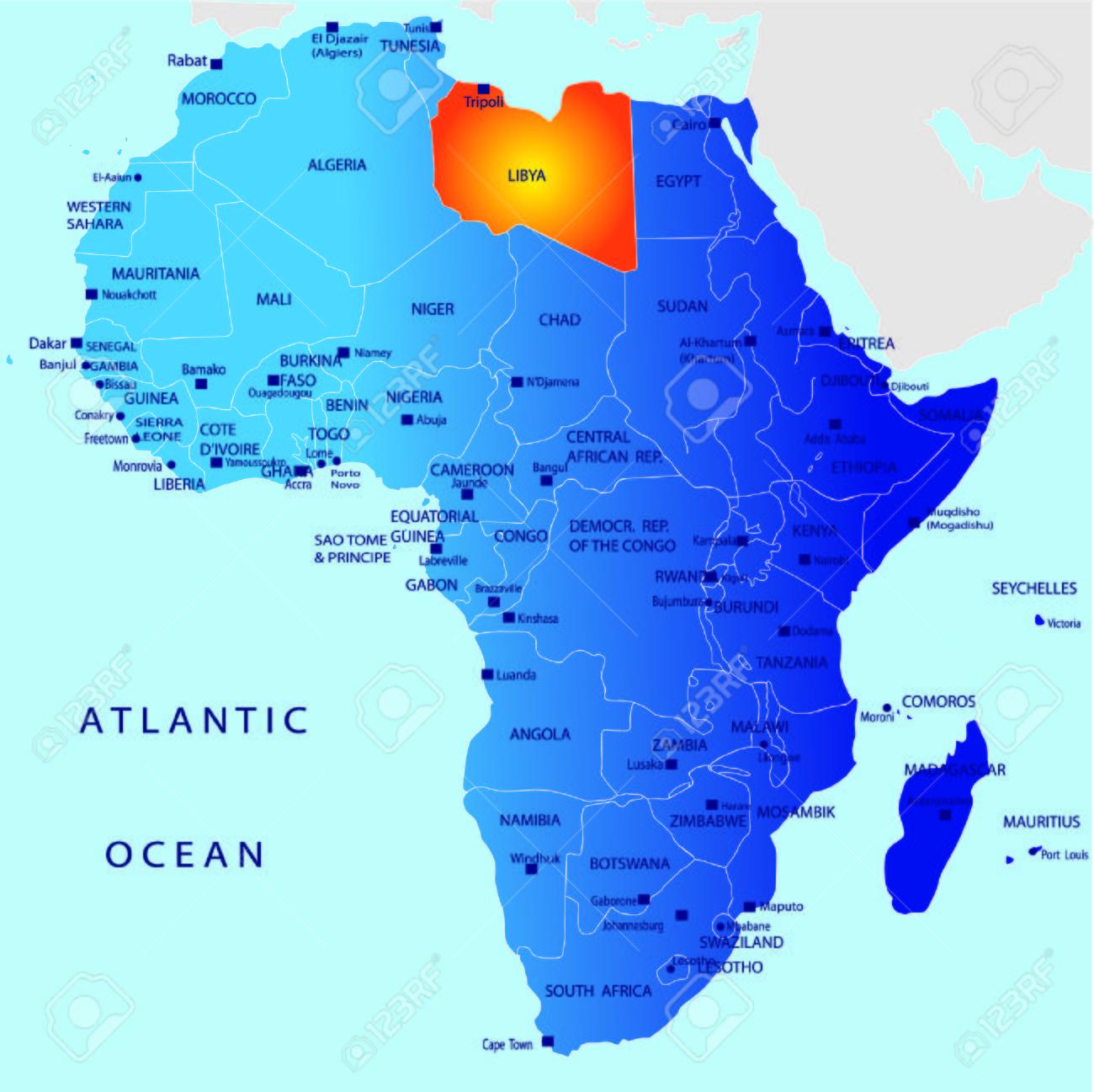 Mapa Politico De Africa Libia Ilustraciones Vectoriales Clip Art