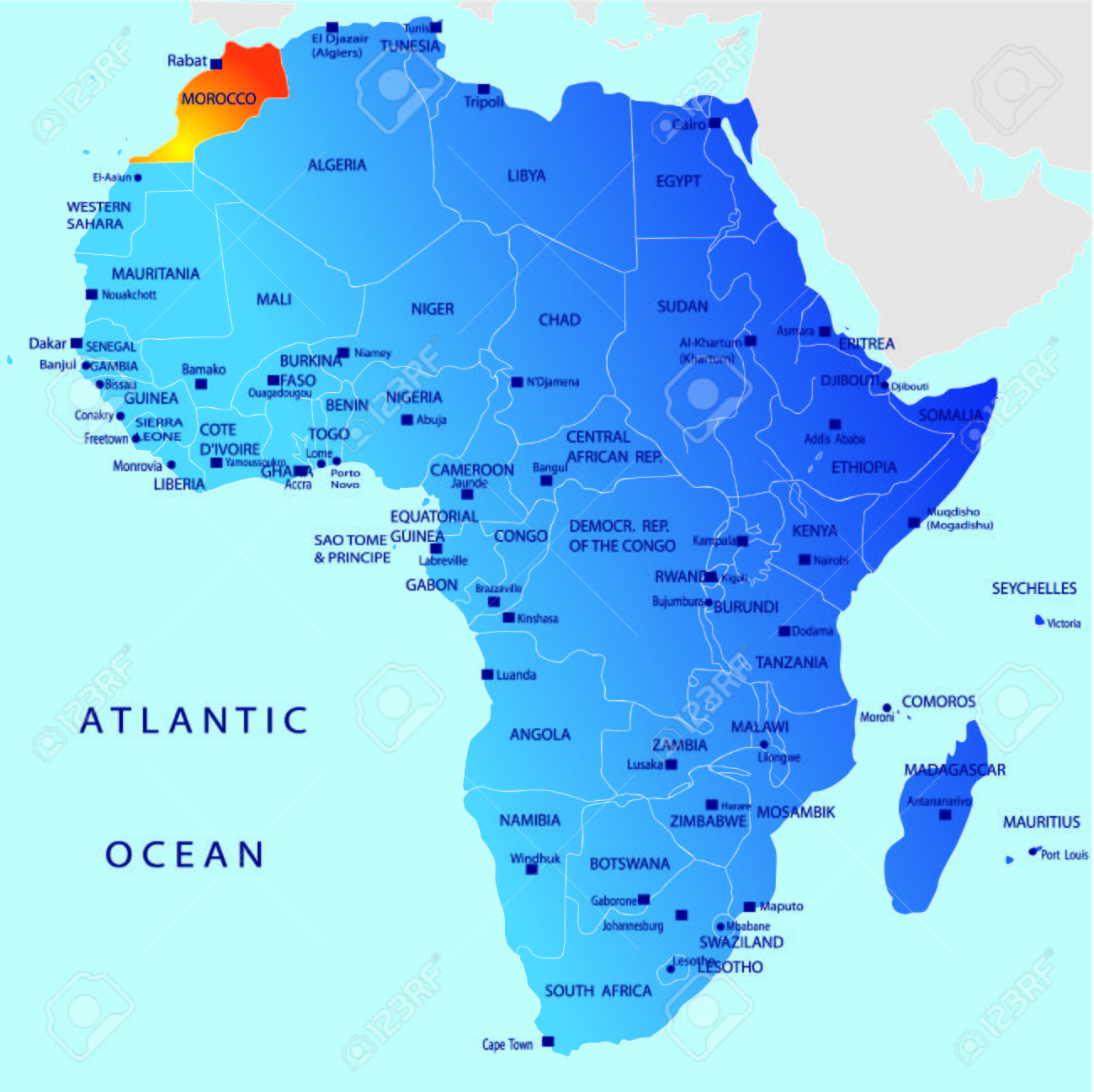 Morocco Map Of Africa.Political Map Of Africa Morocco