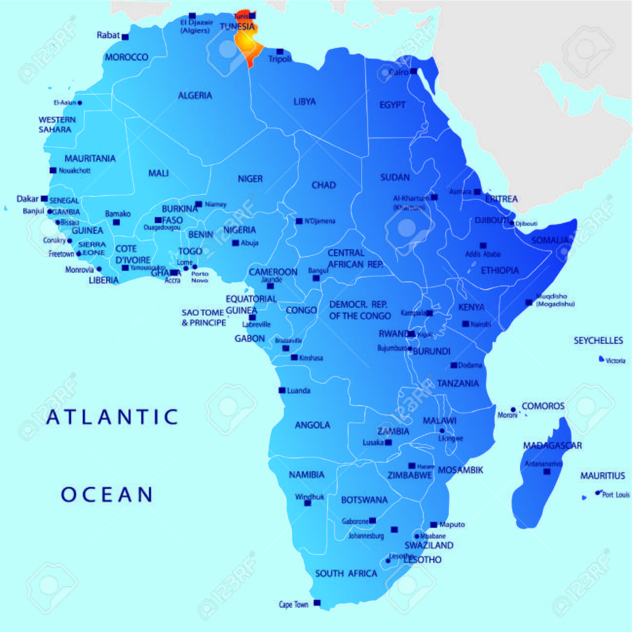 Political Map Of Africa Tunisia Royalty Free Cliparts Vectors - Tunisia map africa