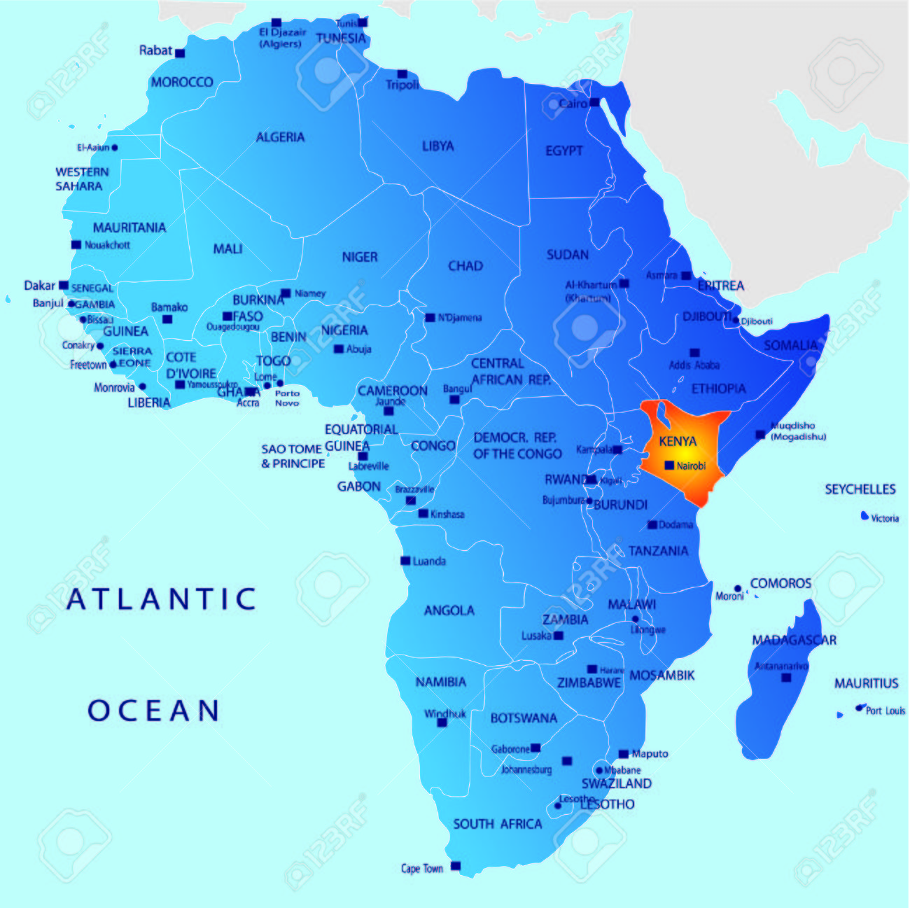 Political Map Of Africa Kenya Royalty Free Cliparts Vectors And