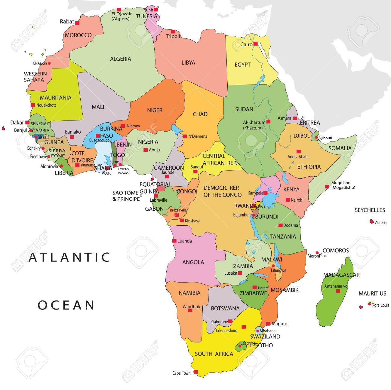 Mapa Politico De Africa En Español.Mapa Politico De Africa