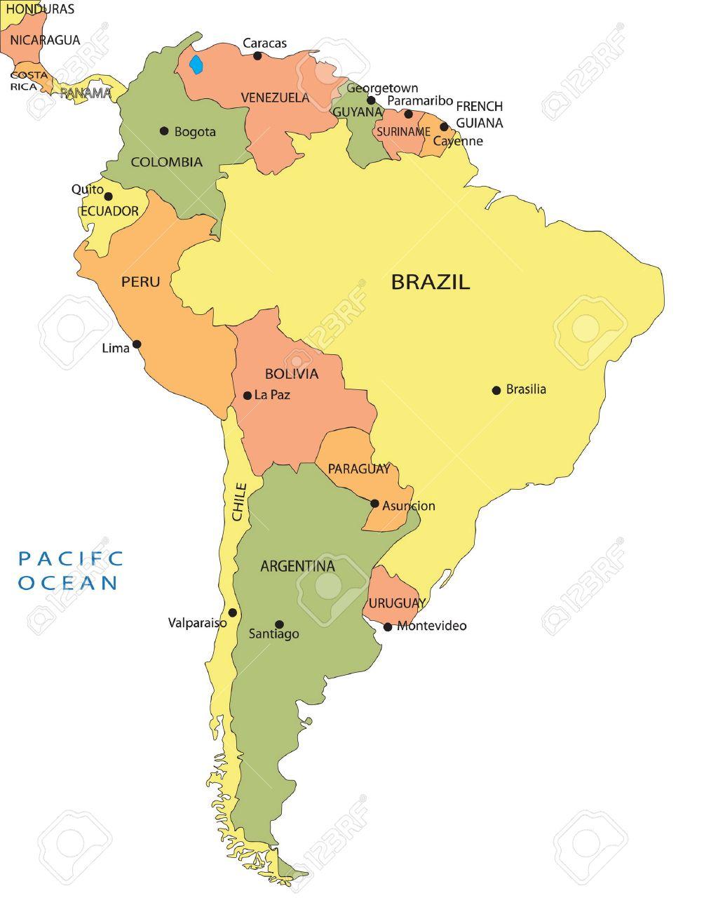 mapa político de américa del sur ilustraciones vectoriales, clip