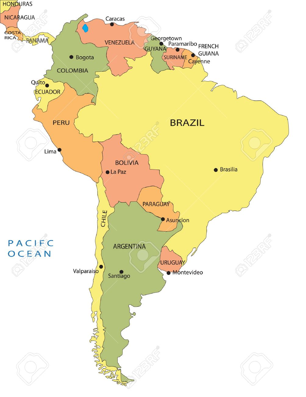 Political Map Of South America Royalty Free Cliparts Vectors And - Ecuador south america map