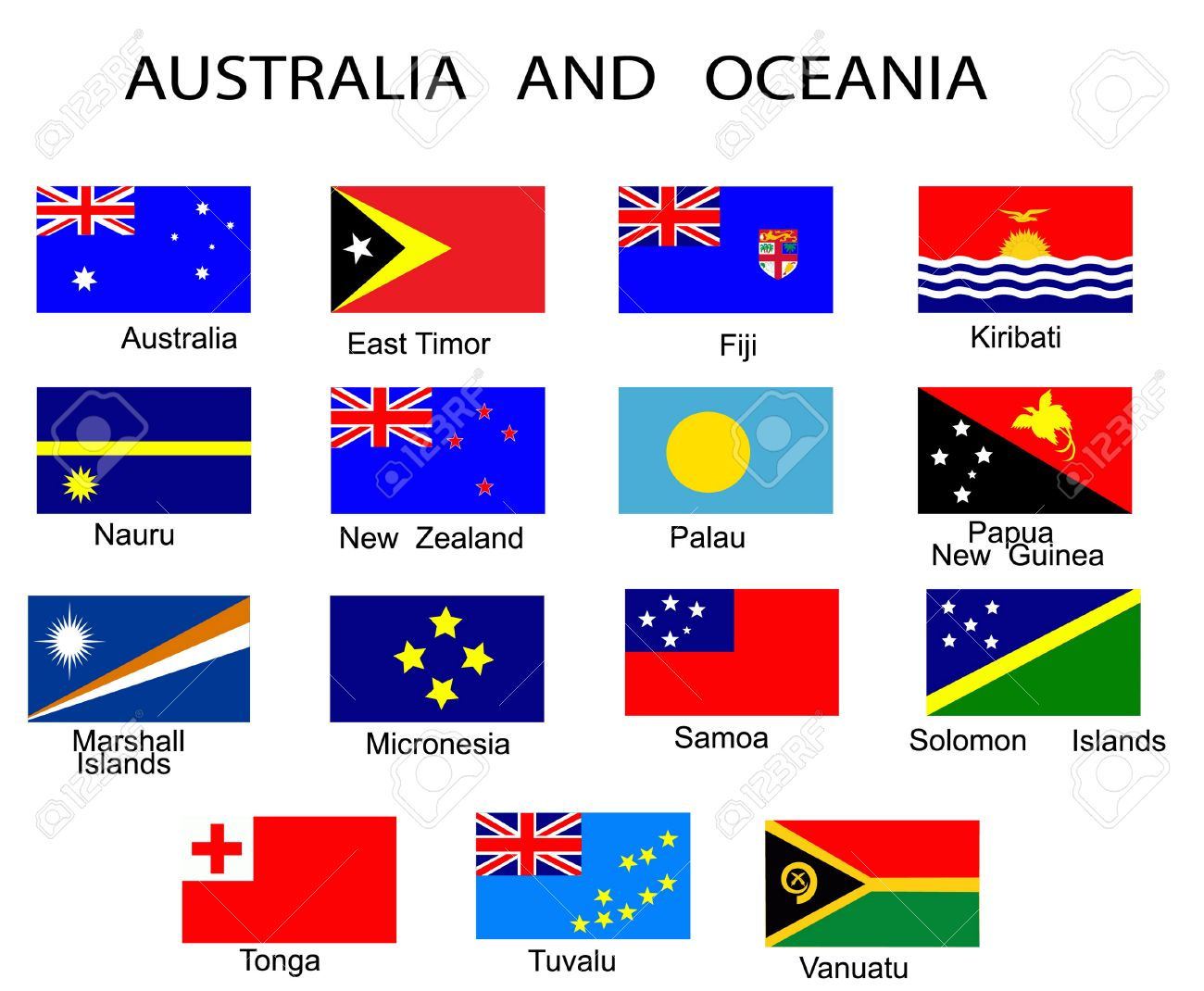 List of all flags of Australia and Oceania countries Stock Vector - 6383287