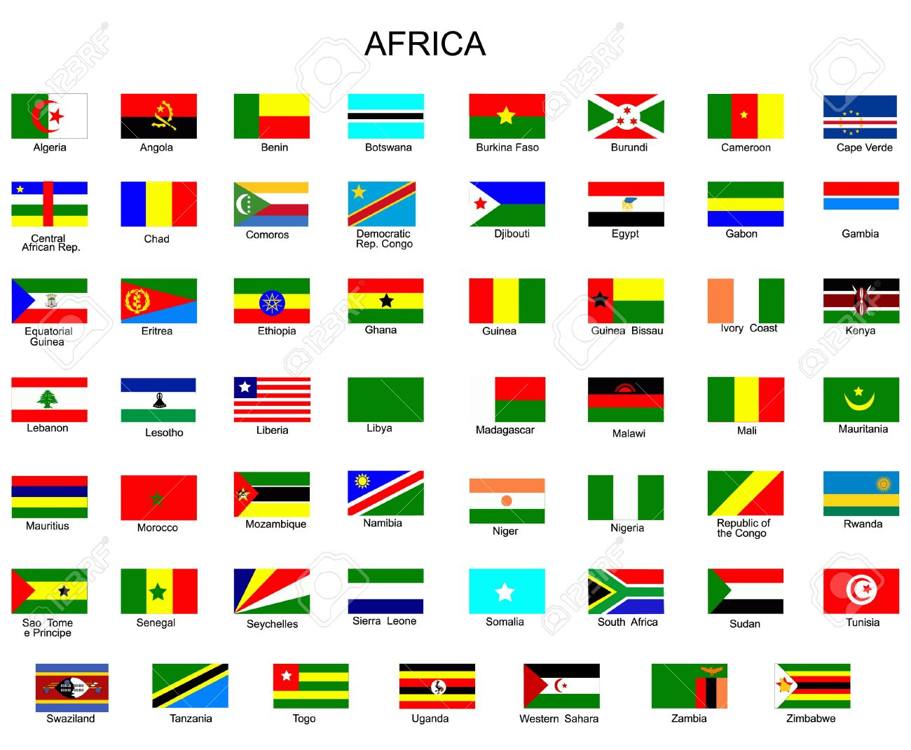list of all flags of africa countries royalty free cliparts, vectors