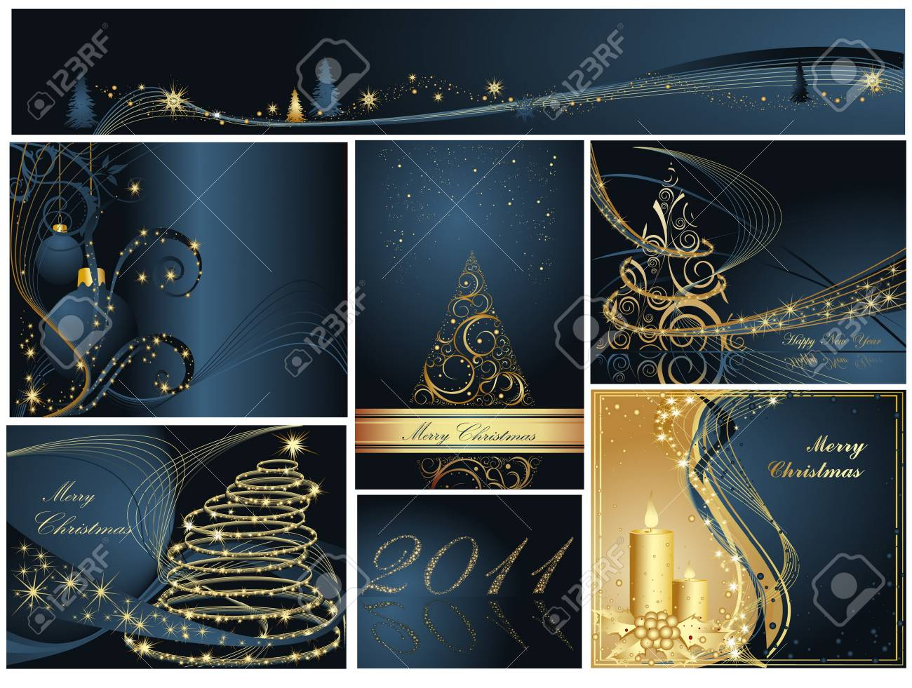 Merry Christmas and Happy New Year collection Stock Vector - 7159869