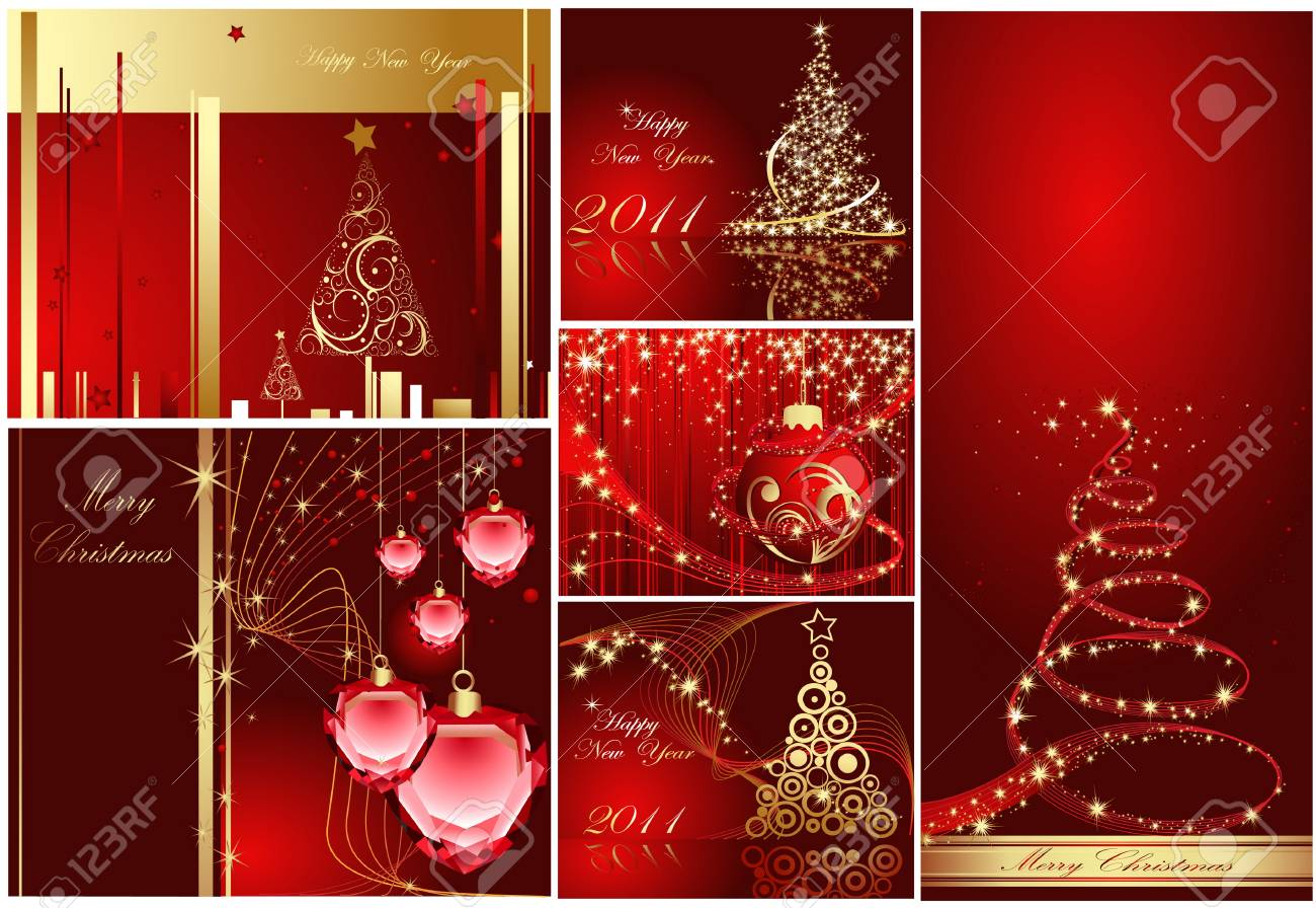 Merry Christmas and Happy New Year collection Stock Vector - 7994384