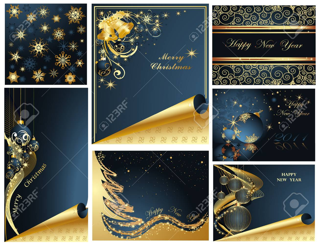 Merry Christmas and Happy New Year collection Stock Vector - 8310501