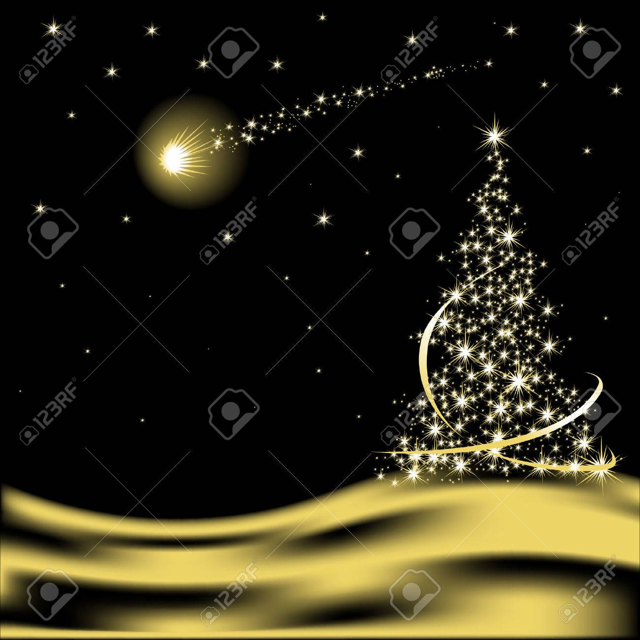 Christmas Tree In The Desert.Vector Christmas Tree With Falling Star In Desert
