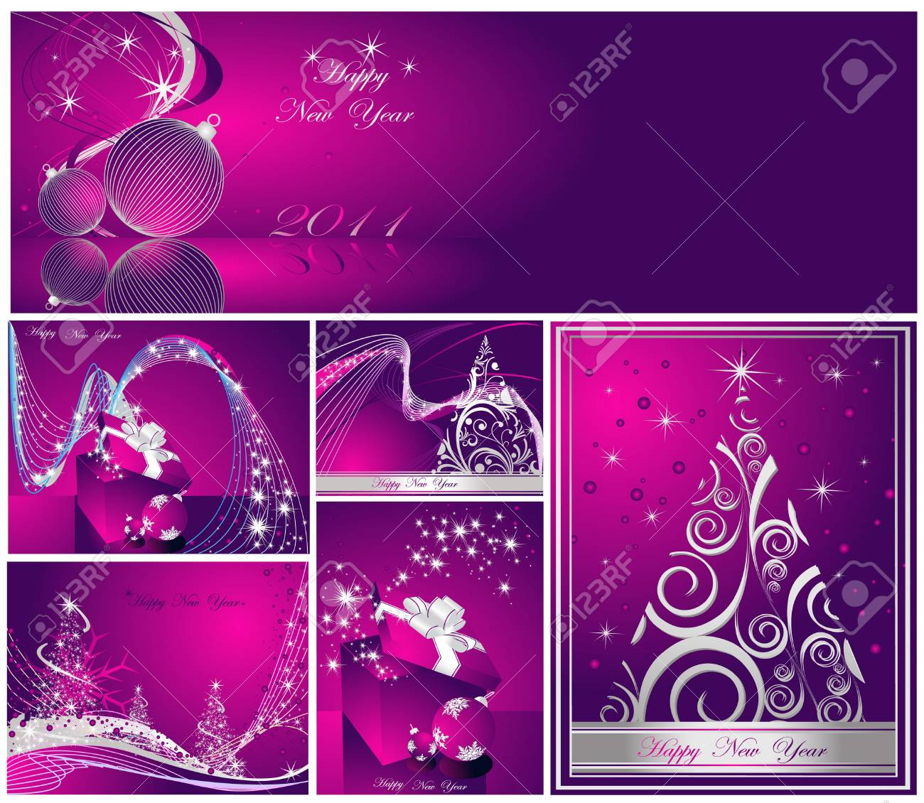 Merry Christmas and Happy New Year collection Stock Vector - 8310543