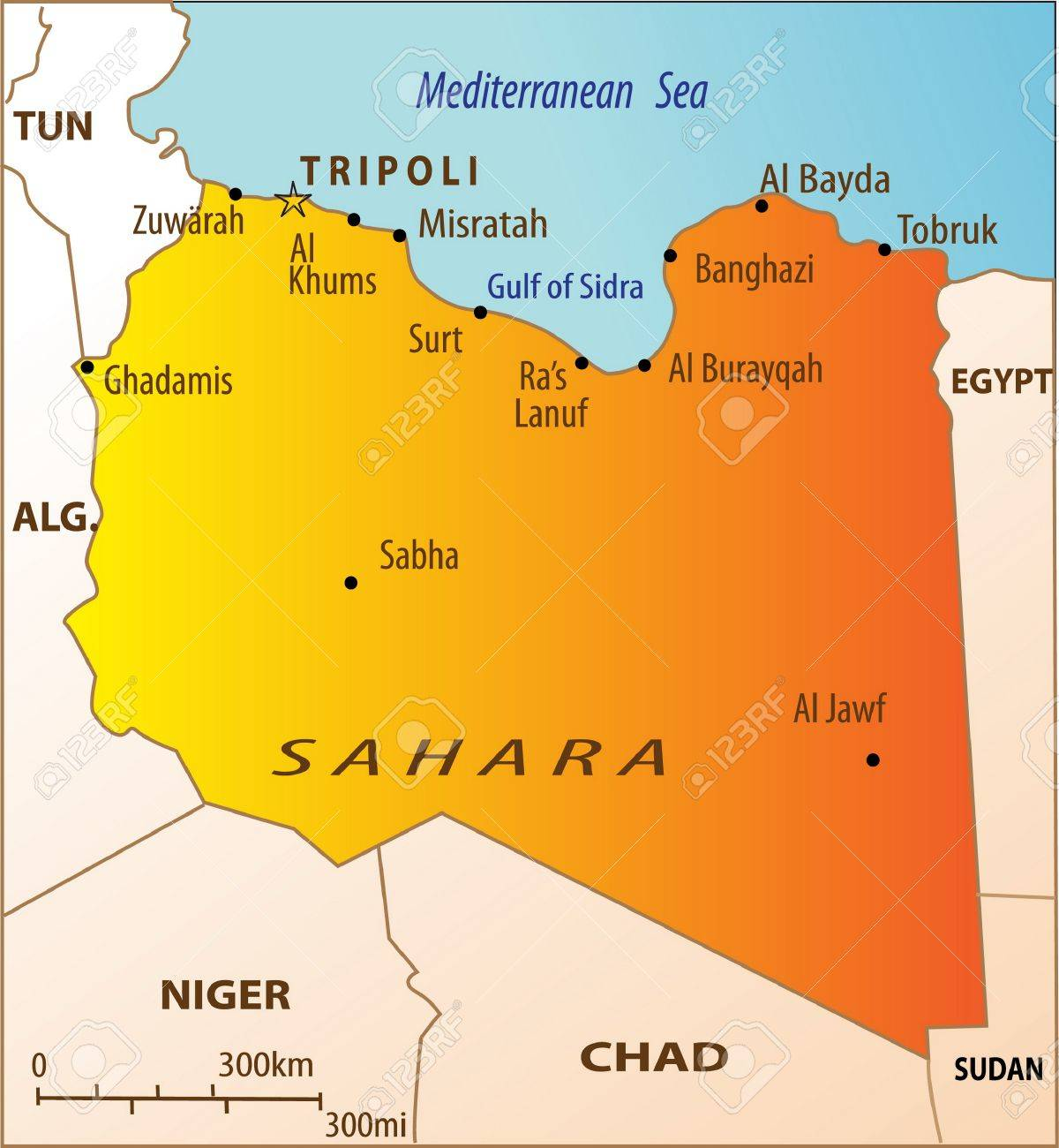 Political map of North Africa with Libya isolated