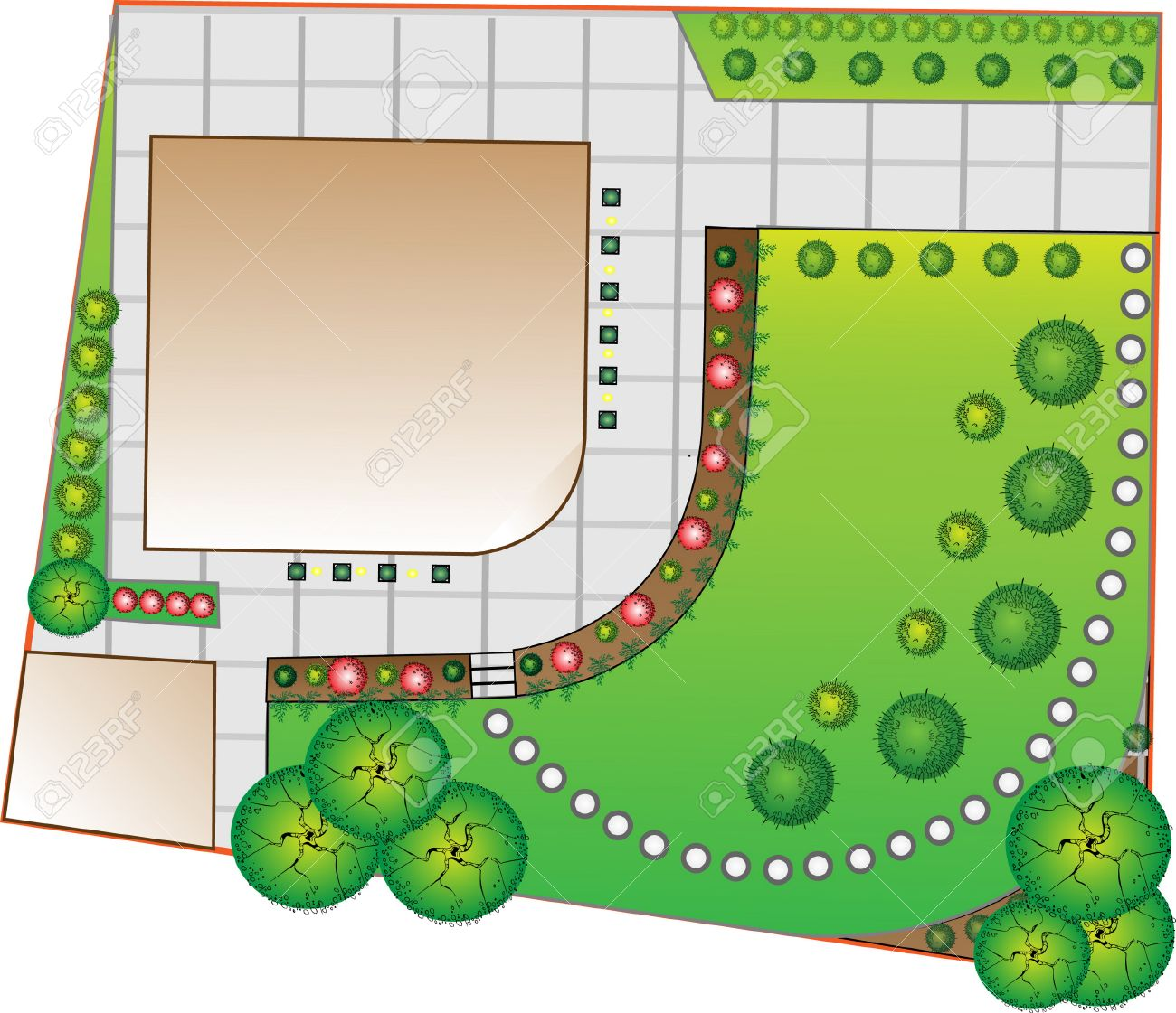 Pleasant Colored Landscape Plan With Lake And Bridge Royalty Free Cliparts Largest Home Design Picture Inspirations Pitcheantrous