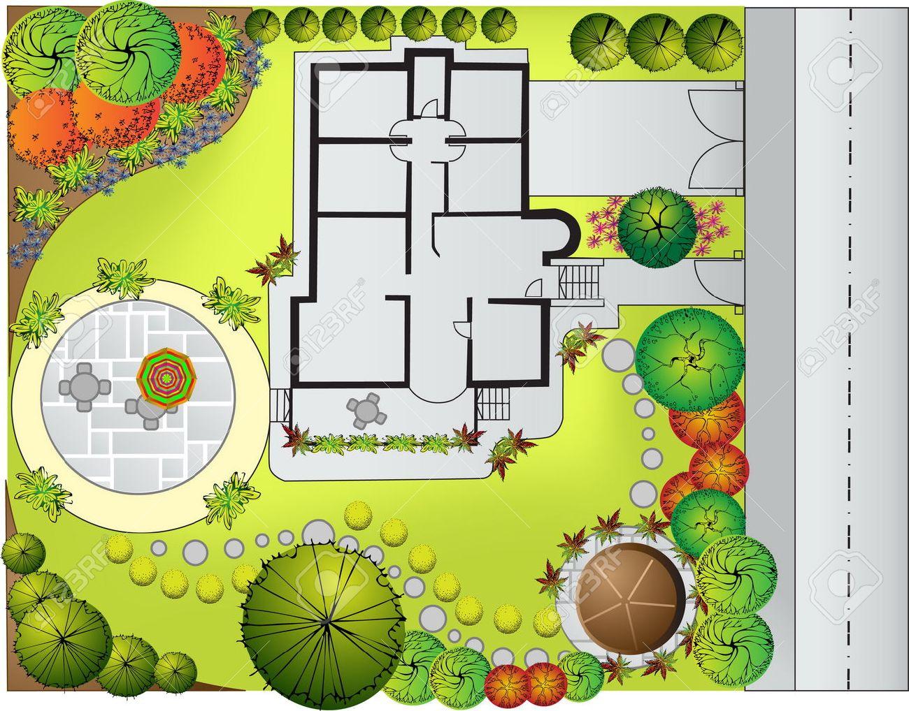Plan of Landscape and Garden Stock Vector - 9103127