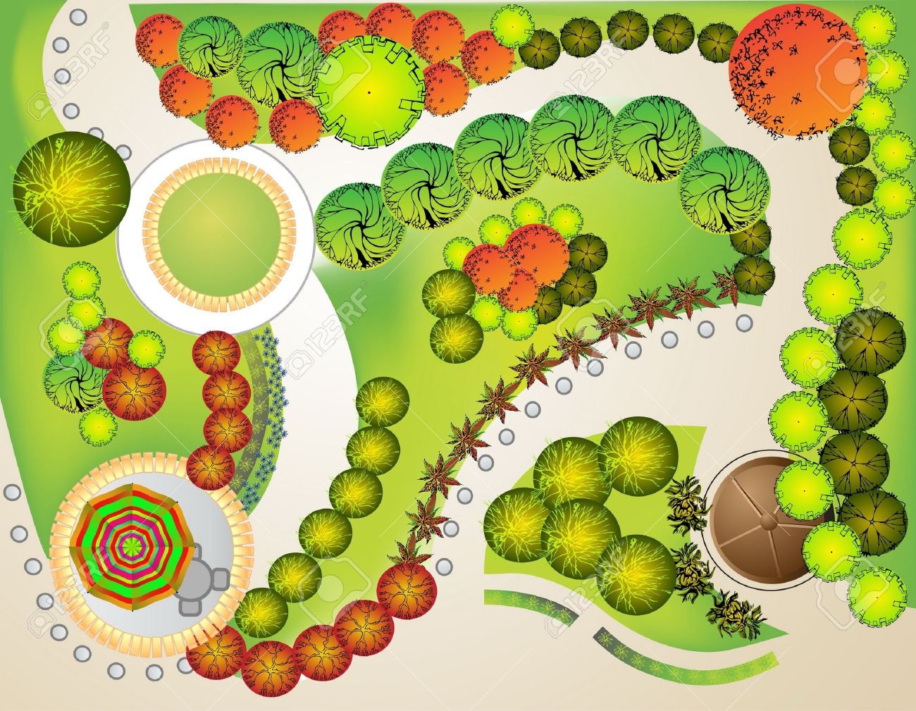 Garden Design with Colored Plan Of Garden Decorative Plants Royalty Free  Cliparts with Front House Landscape. Garden Design  Garden Design with Landscape Design Plans Lovely