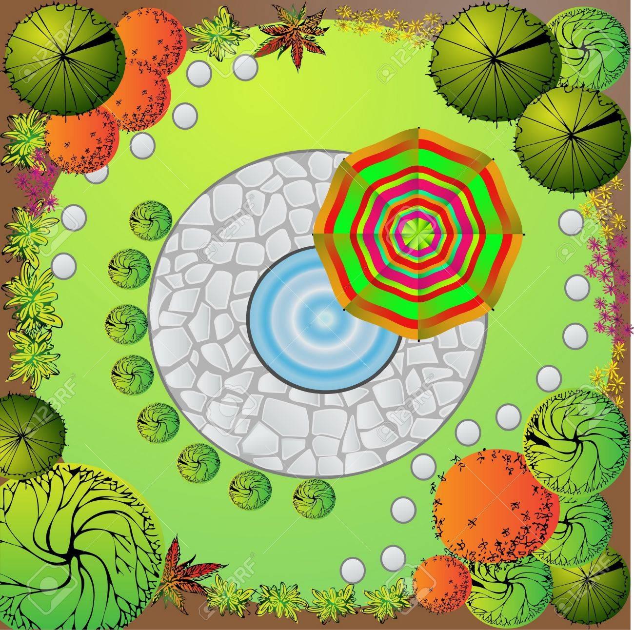 Colored Plan of garden decorative plants Stock Vector - 9923560