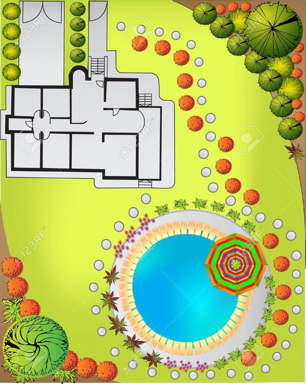 Colored Plan of garden decorative plants Stock Vector - 10068670
