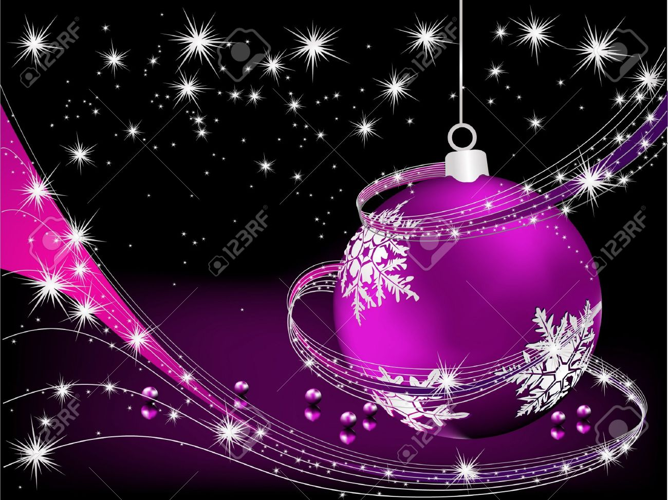 Merry Christmas Background Silver And Violet Royalty Free Cliparts