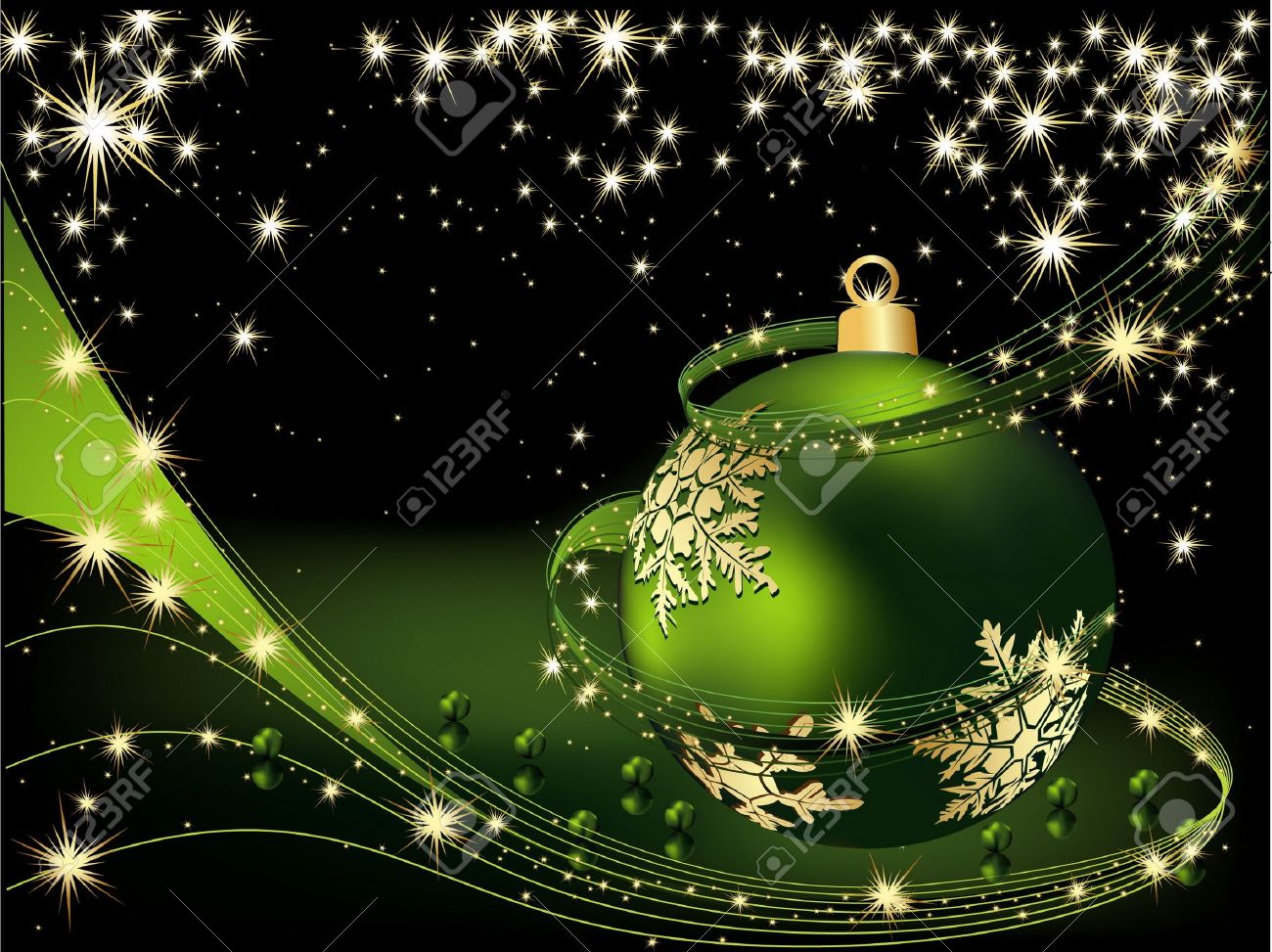 Merry Christmas  background gold and green Stock Vector - 10653544