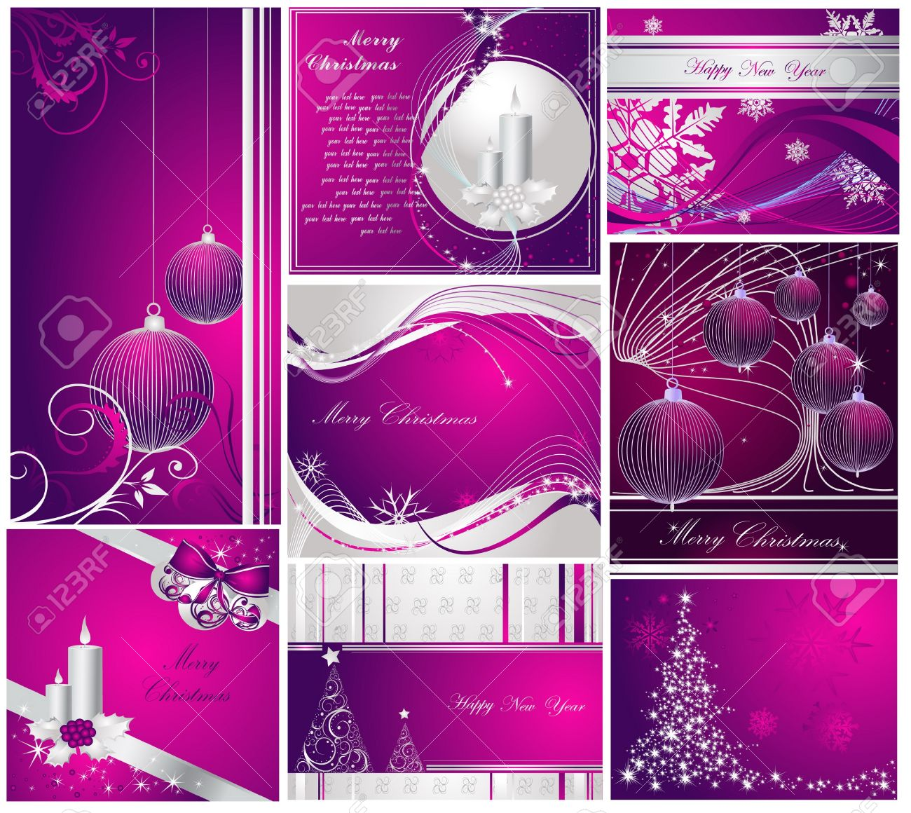 Merry Christmas and Happy New Year collection silver and violet Stock Vector - 10919565