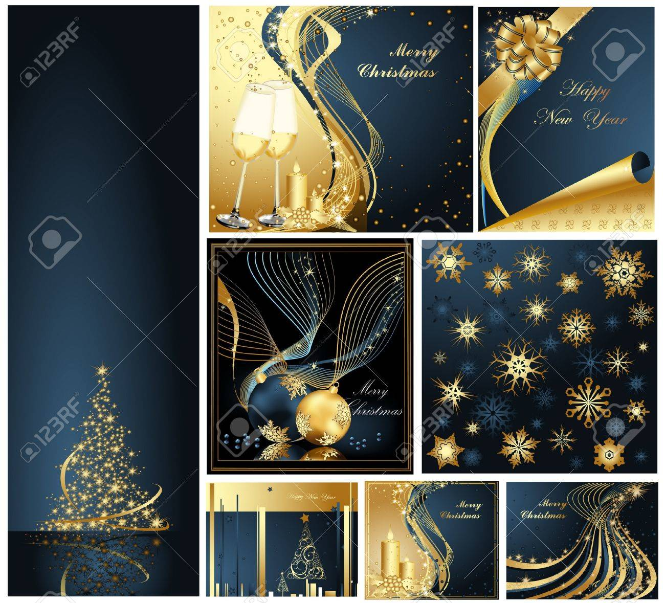 Merry Christmas and Happy New Year collection gold and blue Stock Vector - 10981714