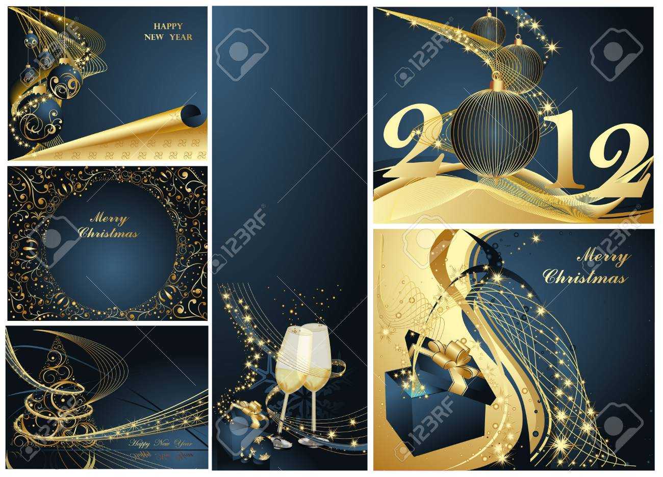 Merry Christmas and Happy New Year collection gold and blue Stock Vector - 11674422