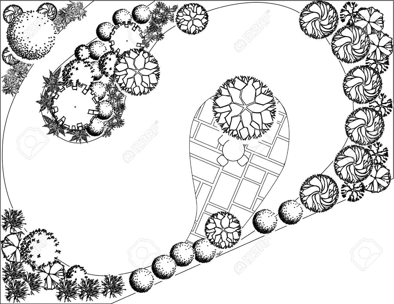 Plan of garden with symbols of tree Stock Vector - 12490422