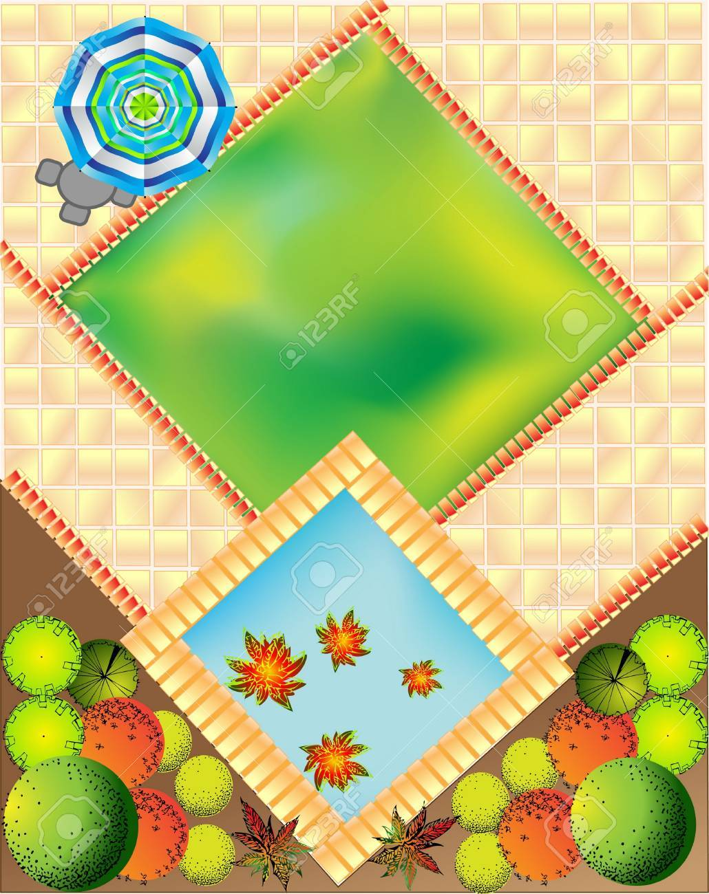 Plan of garden with plant symbols Stock Vector - 14002945