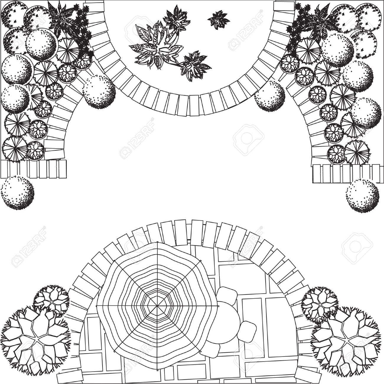 Exellent Garden Design Drawing Symbols M Inside