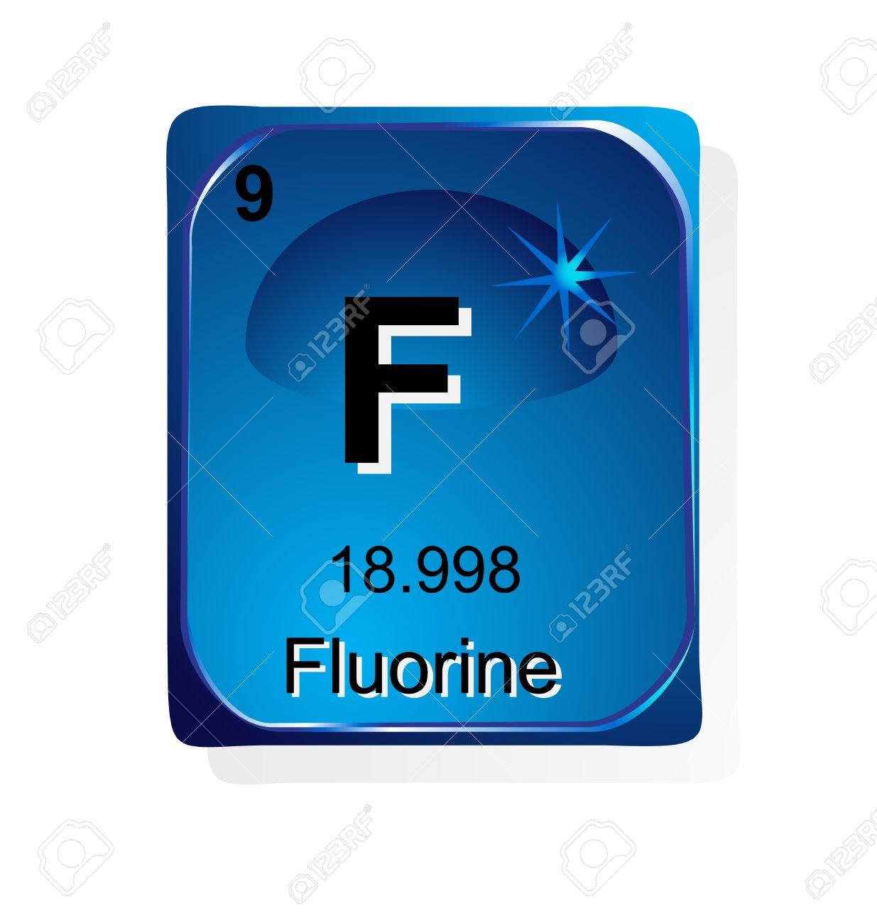 Fluorine Chemical Element With Atomic Number Symbol And Weight