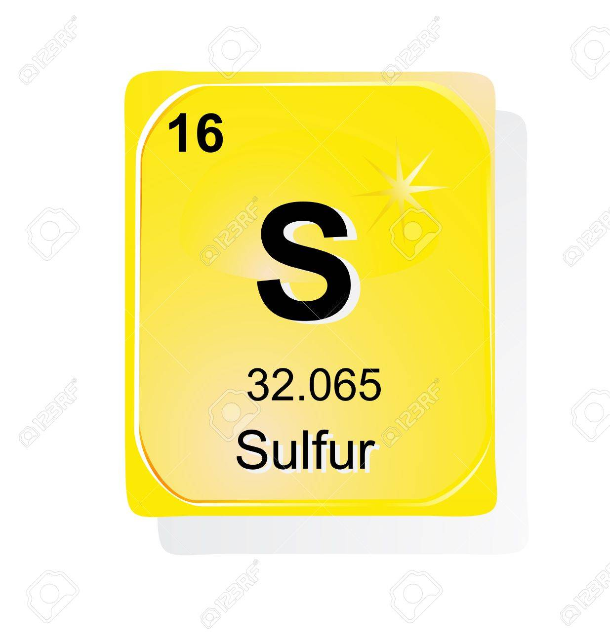 Sulfur Chemical Element With Atomic Number Symbol And Weight