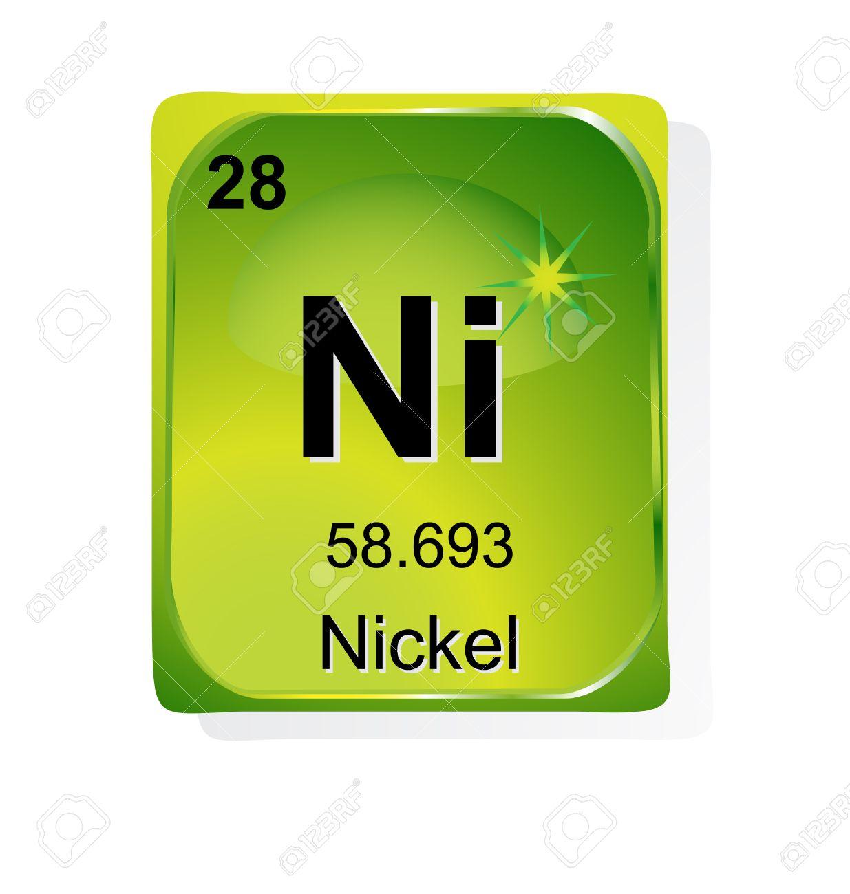 Elemento qumico con nmero atmico de nquel el smbolo y el peso elemento qumico con nmero atmico de nquel el smbolo y el peso foto de archivo urtaz Images