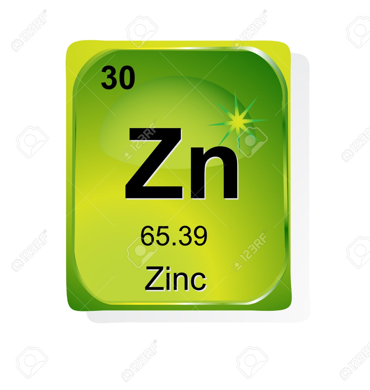 Zinc Chemical Element With Atomic Number Symbol And Weight Royalty