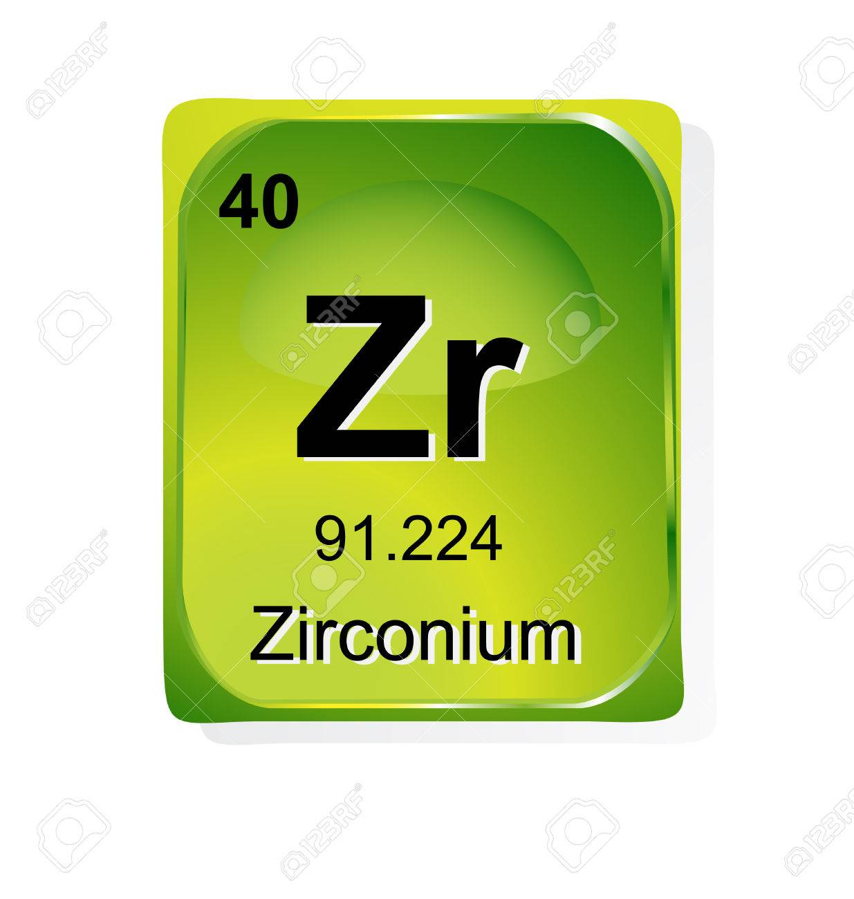 Zirconium Chemical Element With Atomic Number, Symbol And Weight ...