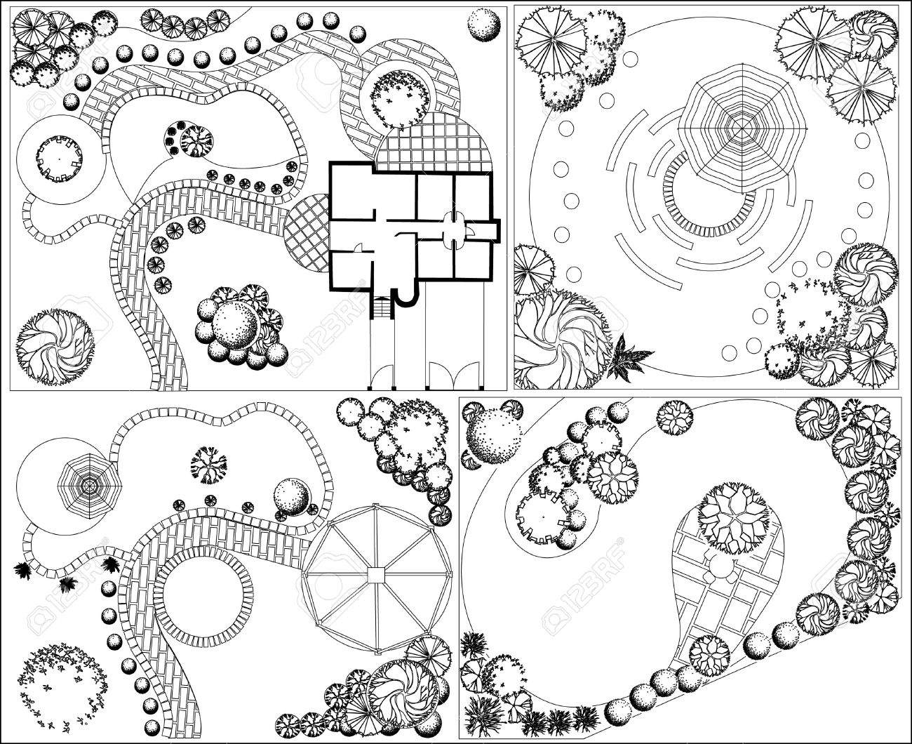 Collections Od Landscape Plan With Treetop Symbols Black And