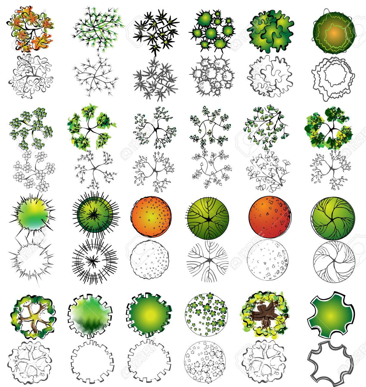 A set of treetop symbols, for architectural or landscape design