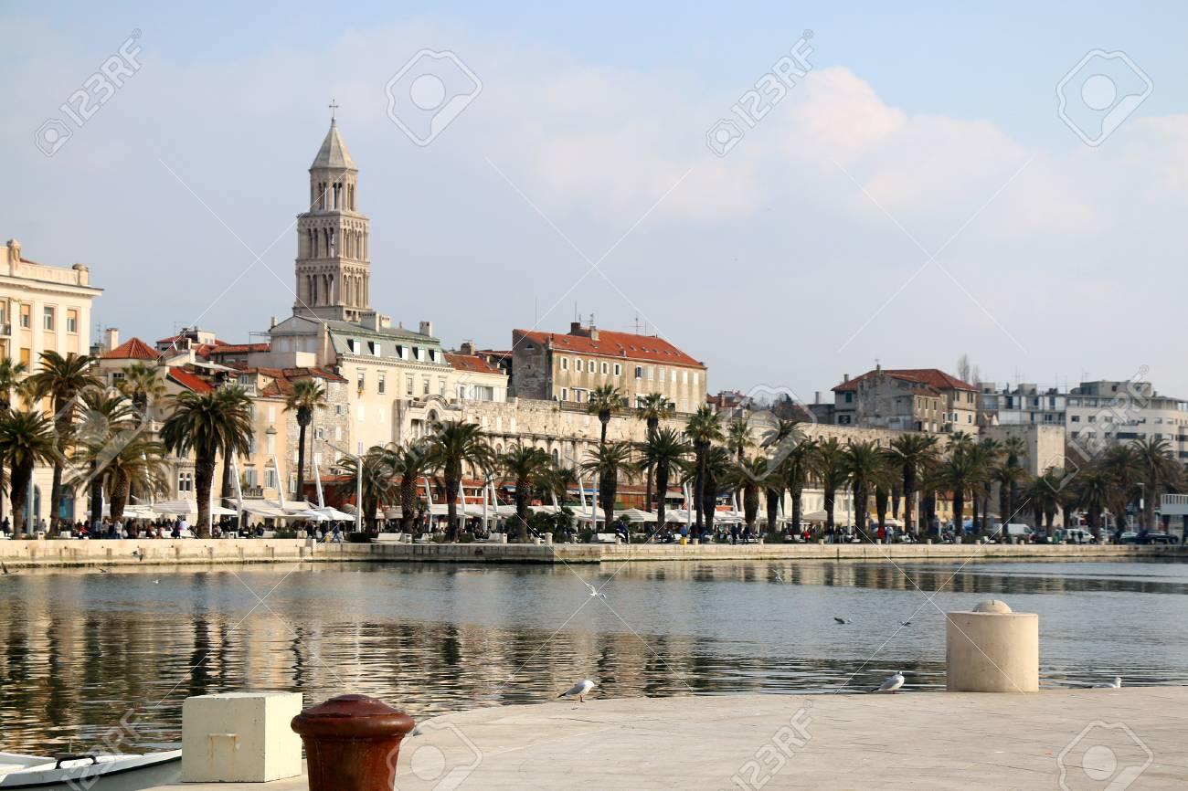 Waterfront in Split, Croatia  Seagulls on Matejuska cove with
