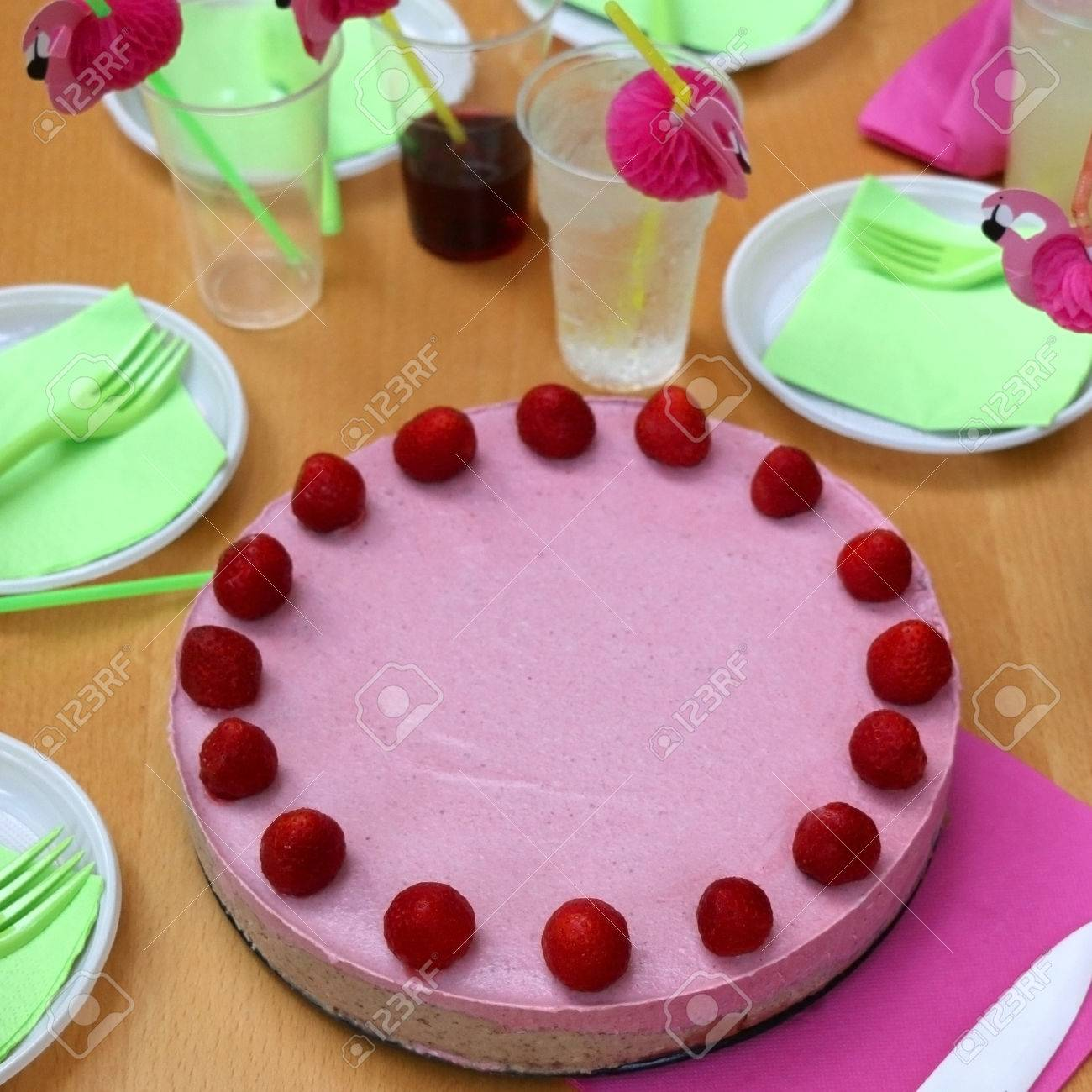 Birthday Party With Vegan Raw Strawberry Cake And Cute Flamingo