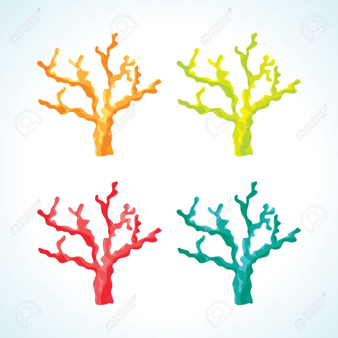 Superior Isolated Sea Coral Vecctor Drawings In Different Color Variations Stock  Vector   78757812