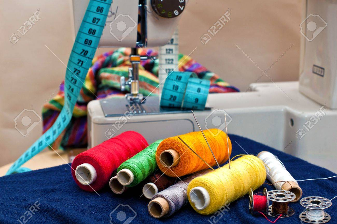 Sewing tools and a colorful material Stock Photo - 11793410