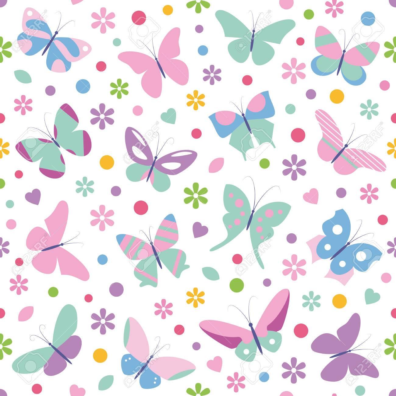 Mariposas Flores Corazones Y El Patrón De Puntos Ilustraciones ...