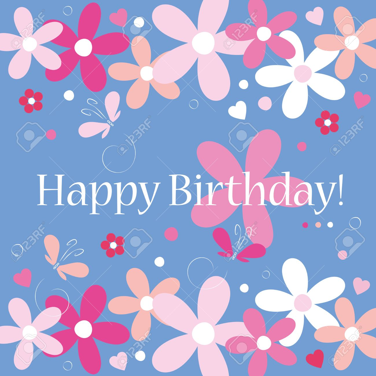 Blue Hearts Flowers And Butterflies Happy Birthday Card Royalty Free