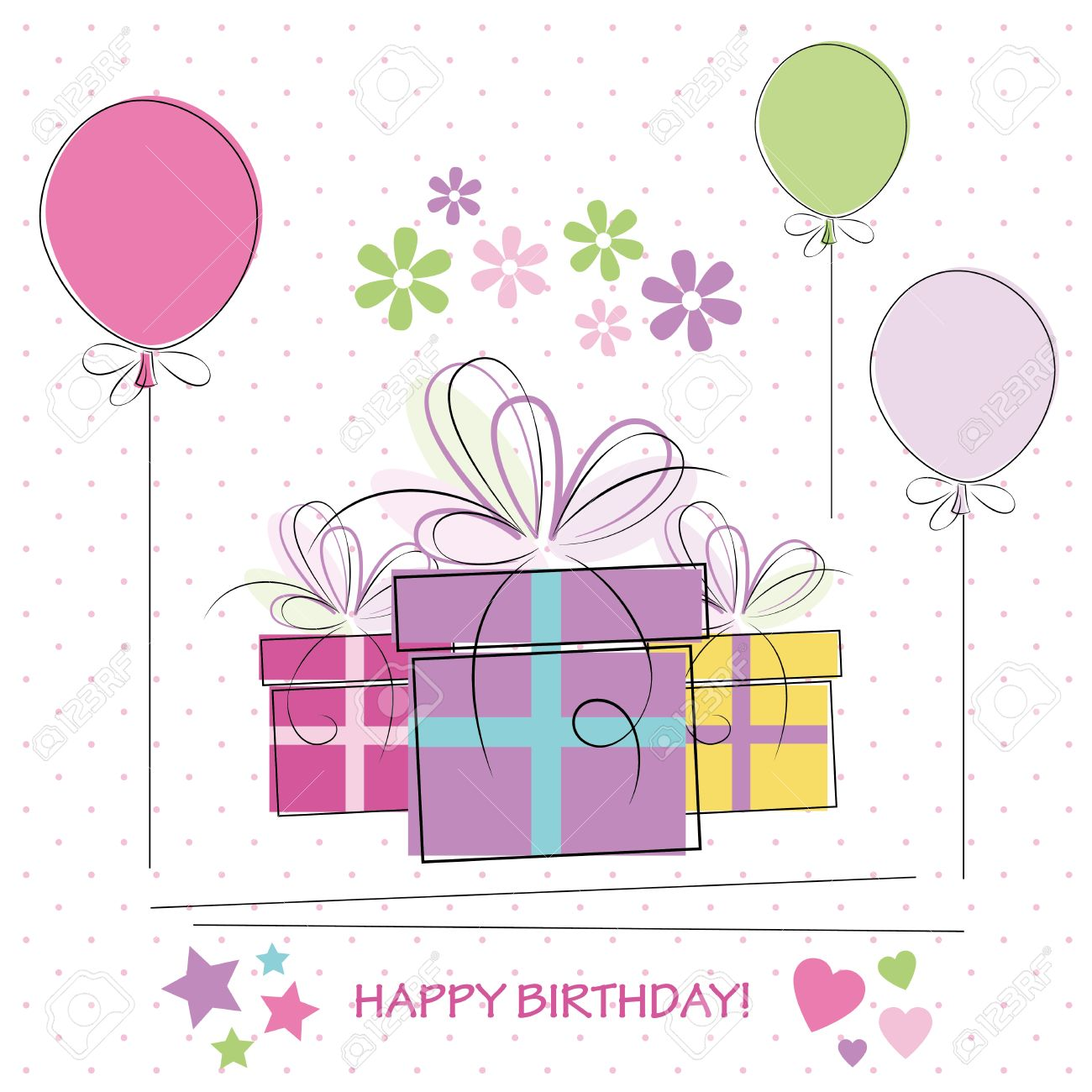 Cute Polka Dot Happy Birthday Gifts Balloons And Flowers Card