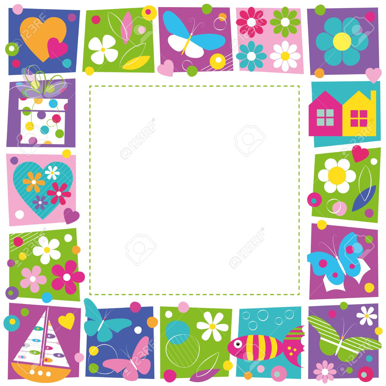 cute hearts flowers and butterflies border royalty free cliparts