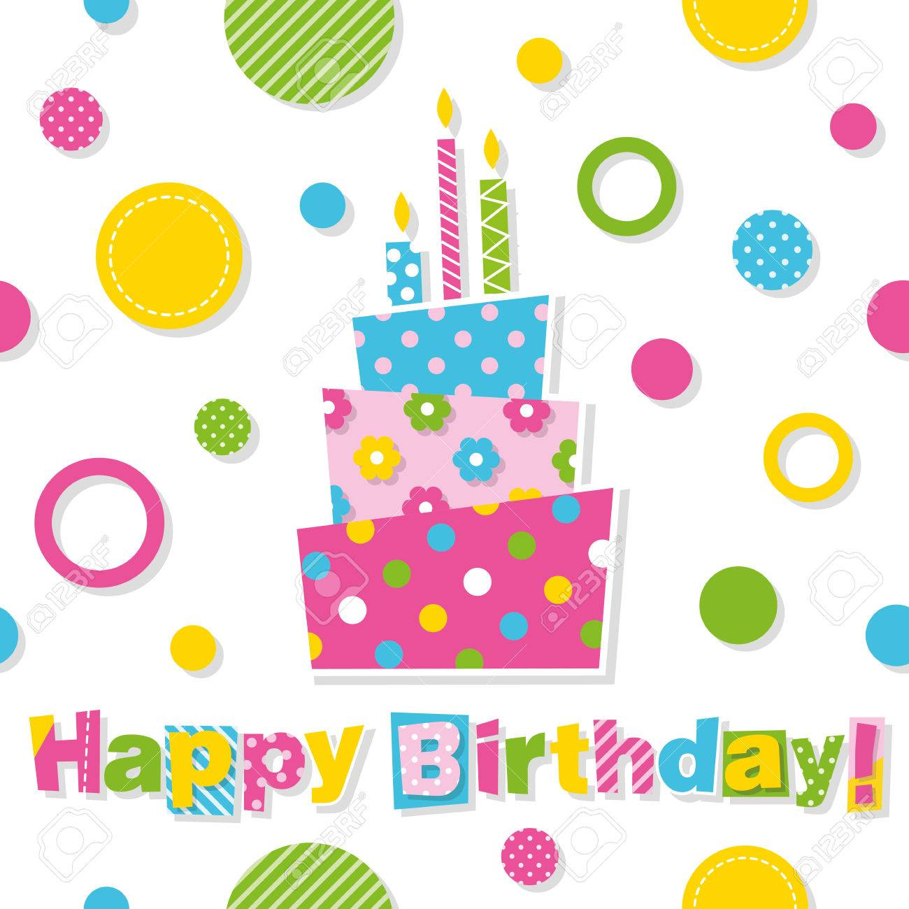 Happy Birthday Cake Greeting Card Royalty Free Cliparts Vectors