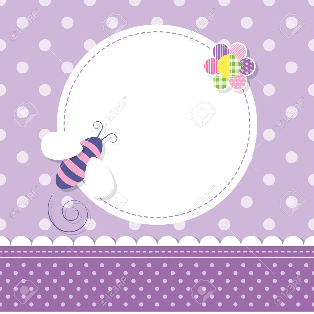 purple bee baby girl greeting card royalty free cliparts vectors
